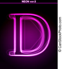 Glowing font. Shiny letter D - Glowing neon letter on black...