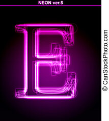 Glowing font. Shiny letter E - Glowing neon letter on black...