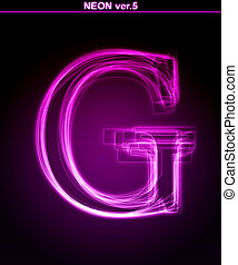 Glowing font. Shiny letter G - Glowing neon letter on black...