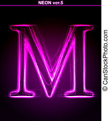 Glowing font Shiny letter M
