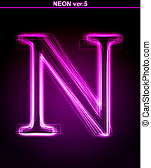 Glowing neon letter on black background. Letter N. (Full...