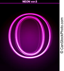 Glowing font. Shiny letter O. - Glowing neon letter on black...