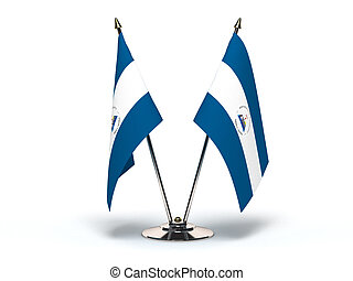 Miniature Flag of Nicaragua Isolated with clipping path