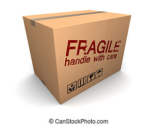 fragile cardboard box - 3d illustration of cardboard box...