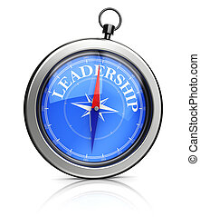 compass pointing to leadership - 3d illustration of pocket...