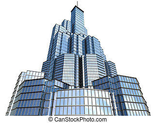 hi-tech skyscraper - 3d model of skyscraper close up view on...