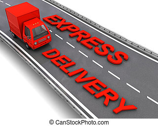 express delivery - 3d illustration of red truck with express...