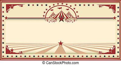 Circo, cartão, vermelho, vindima
