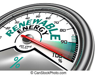renewable energy conceptual meter indicate hundred per cent,...