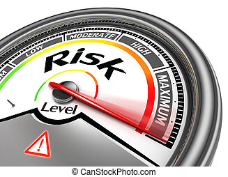 risk level conceptual meter, isolated on white background