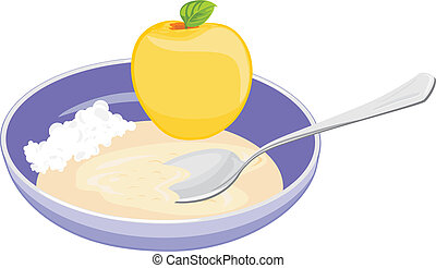 Bowl with oatmeal, curd and apple. Vector illustration