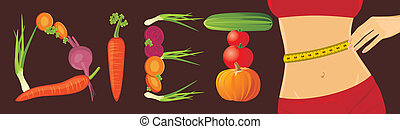 Vegetarian diet Banner Vector illustration