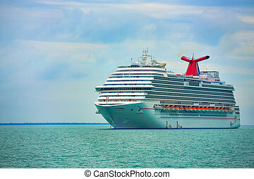 Cruise Ship - Cruise ship on the ocean, close to Belize
