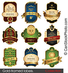 Set of gold-framed labels. Retro design template.