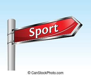 Arrow road sign Sport - Arrow road sign Sport Glowing vector...