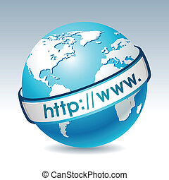 Globe with internet adress Clean vector illustration on...