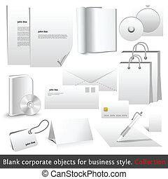Blank corporate objects for business style