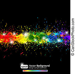Paint splashes vector background - Colorful gradient paint...