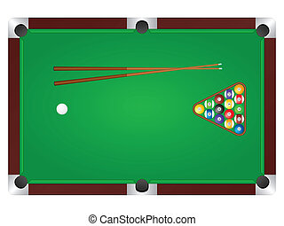 pool table - Pool table with balls and cue. Vector...