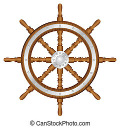 ship wheel - Helm wheel on white background. Vector...