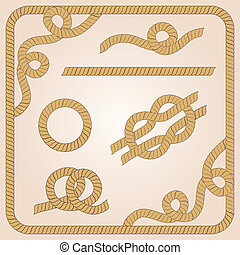 Rope elements - Collection of rope templates with knots,...