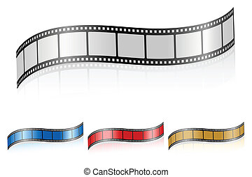 wavy film strip 3 - Film strip isolated on a white...