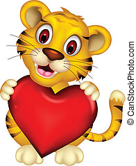 cute baby tiger posing with heart - vector illustration of...