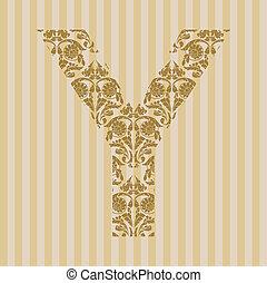 Floral font. Letter Y - Floral font. Ornament letter on...