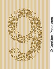 Floral font. Number 9