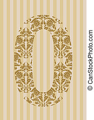 Floral font. Number 0