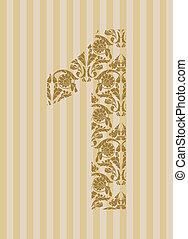Floral font. Number 1 - Floral font. Ornament number on...