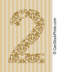 Floral font Number 2 - Floral font Ornament number on...