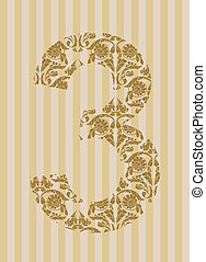 Floral font Number 3 - Floral font Ornament number on...