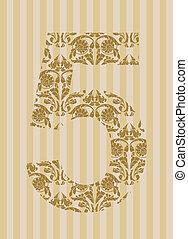 Floral font. Number 5