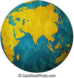 taiwan on globe map