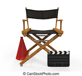 Movie Director Chair isolated on white background. 3d render