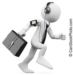3D white people. Businessman rushing to work - 3d white...