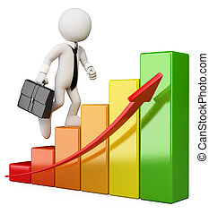 3D white people Businessman climbing a bar graph - 3d white...