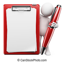 3D white people. Pen and clipboard - 3d white person with a...