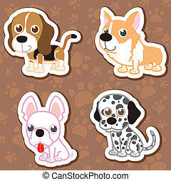 cartoon dog sticker set - illustration of four cartoon cute...