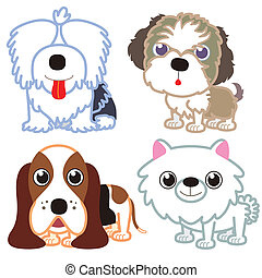 cartoon dog set. - illustration of four cartoon cute dog...