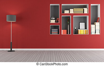 Red empty living room with bookcase - Red empty living room...