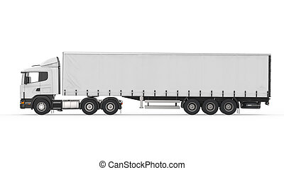 Cargo Delivery Truck Isolated on White Background 3d render
