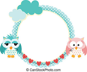 Cute frame with owls couple