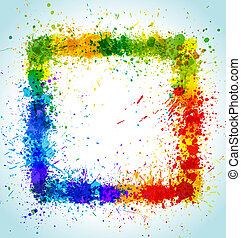 Color paint splashes square background Gradient vector frame...