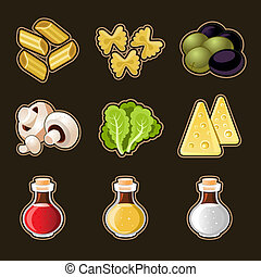 Italian food icon set