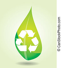 Recycling icon with leaf