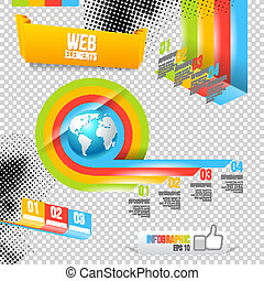 Modern Design Template with World Map. Infographic numbered...