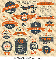 Vintage Coffee Stamps and Label Design Backgrounds - Vector...