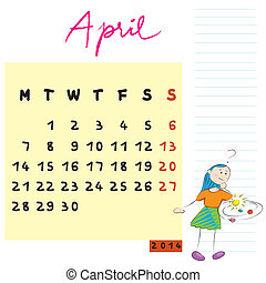 april 2014 kids - 2014 april calendar illustration, hand...